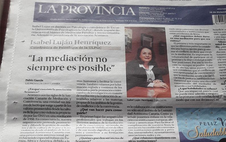 ACAMECO en el periódico La Provincia